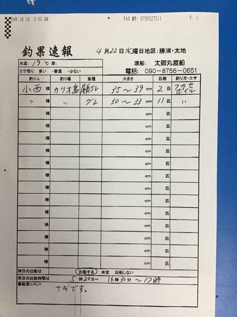 4/22 太地 太師丸渡船さんの釣果 | 南紀和歌山 渡船・ダービーの最新 ...