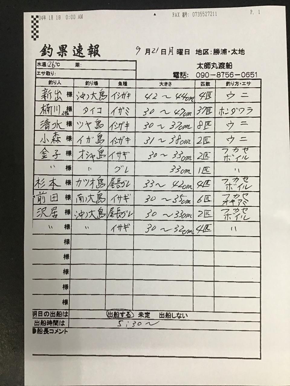 9/21 太地 太師丸渡船さんの釣果 | 南紀和歌山 渡船・ダービーの最新 ...