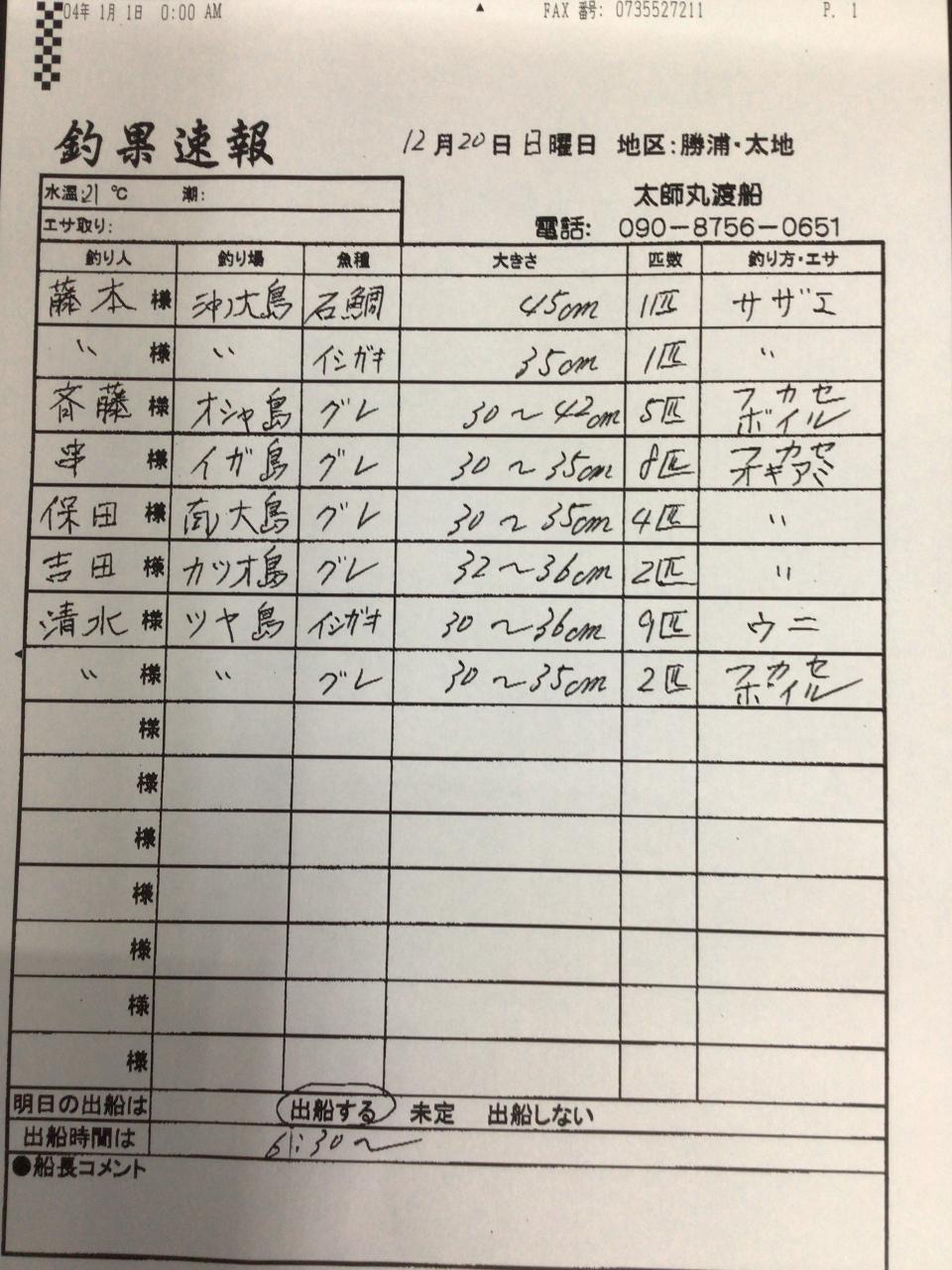 12/20 太地・太師丸渡船さん釣果 | 南紀和歌山 渡船・ダービーの最新 ...